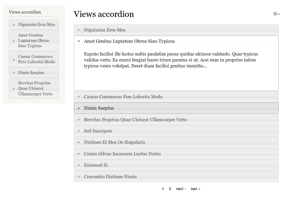 Content put into a views accordion in Drupal 8