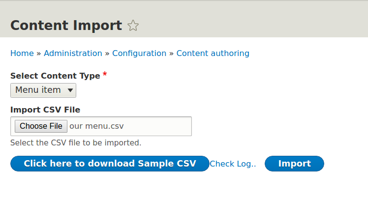 Content import from CSV to Drupal 8