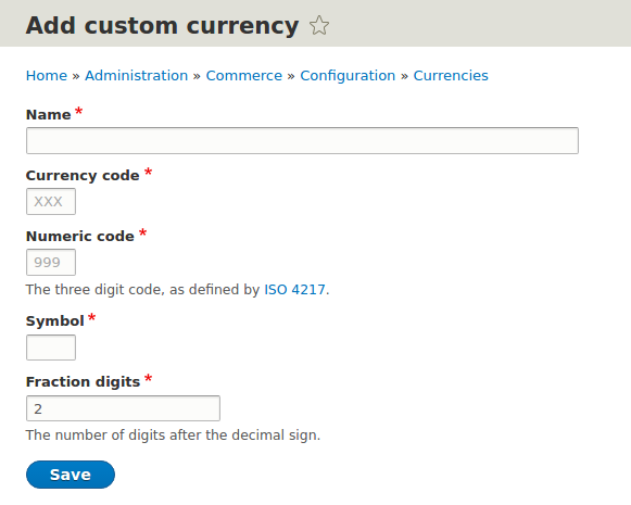 Drupal Commerce - adding custom currency