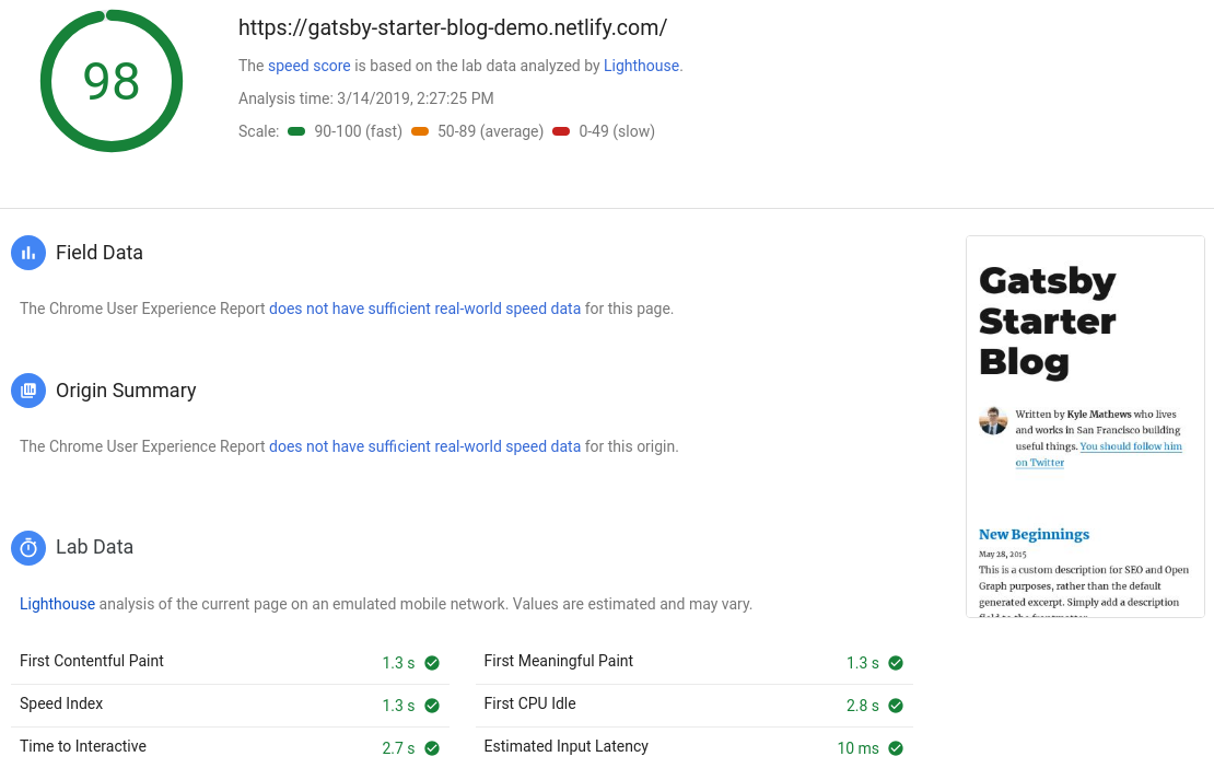 Google PageSpeed test for Gatsby default blog starter