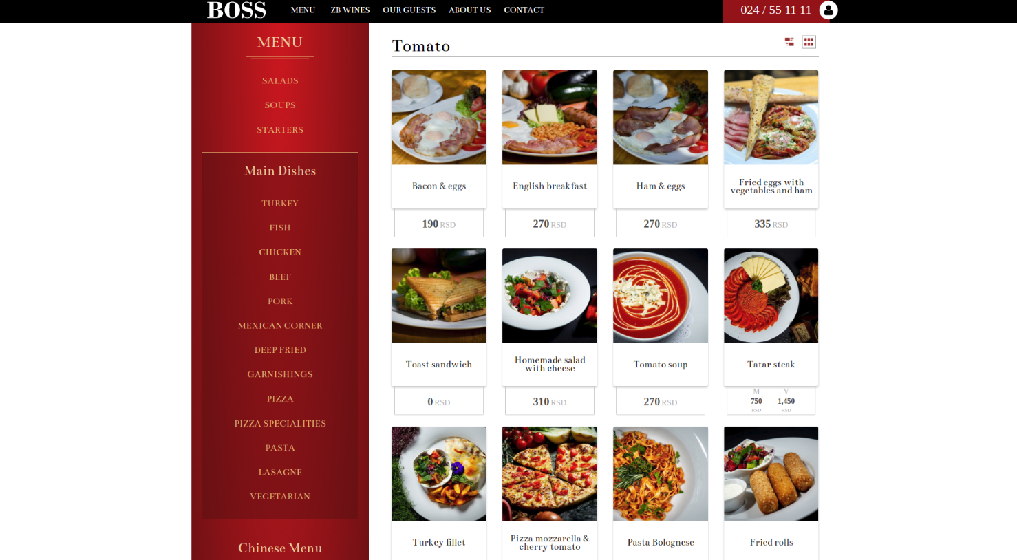 The Boss Cafe website