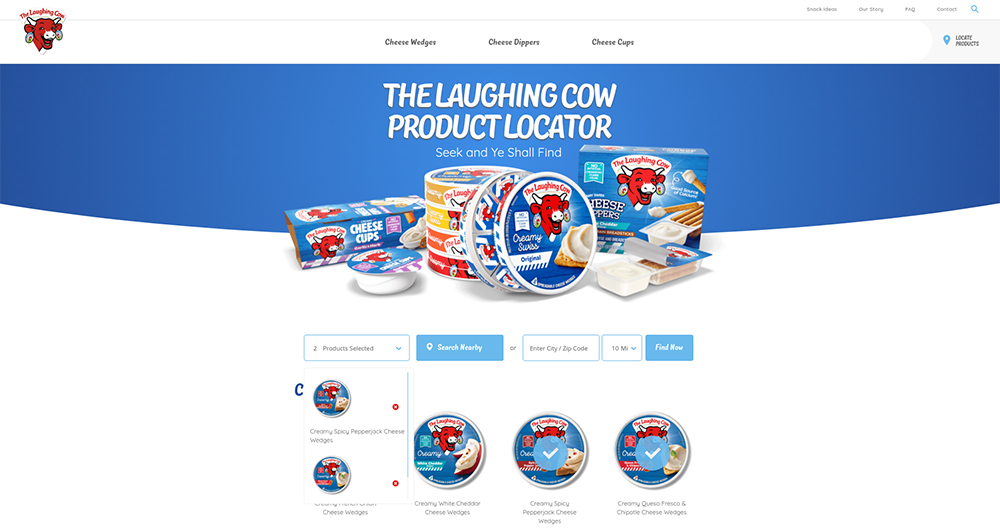 The Laughing Cow Drupal website - product locator