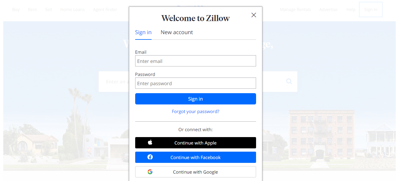 Authorization process zillow