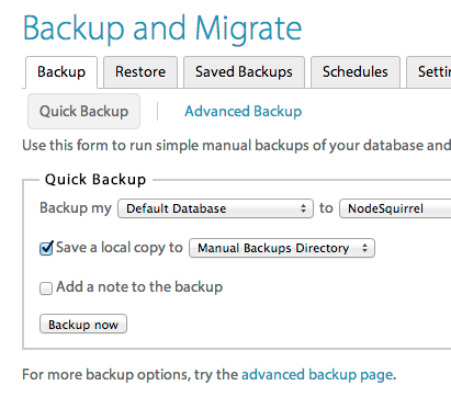 Backup and Migrate Drupal module