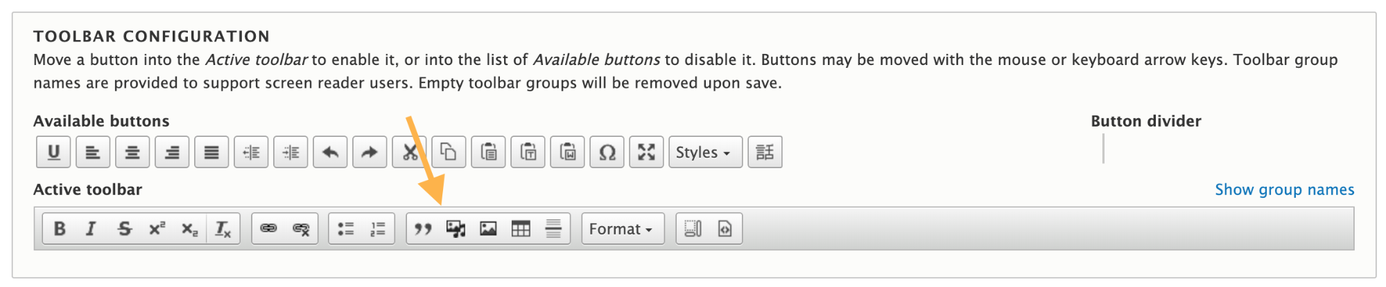 CKEditor panel now with Media Library button