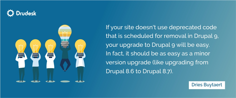 Dries Buytaert's quote: without deprecated code websites will be ready for Drupal 9