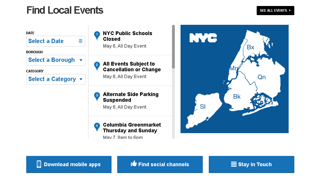 Event calendar on the municipal website of the City of New York