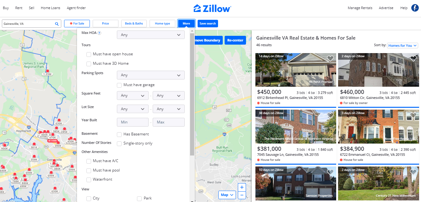 Filtering option zillow