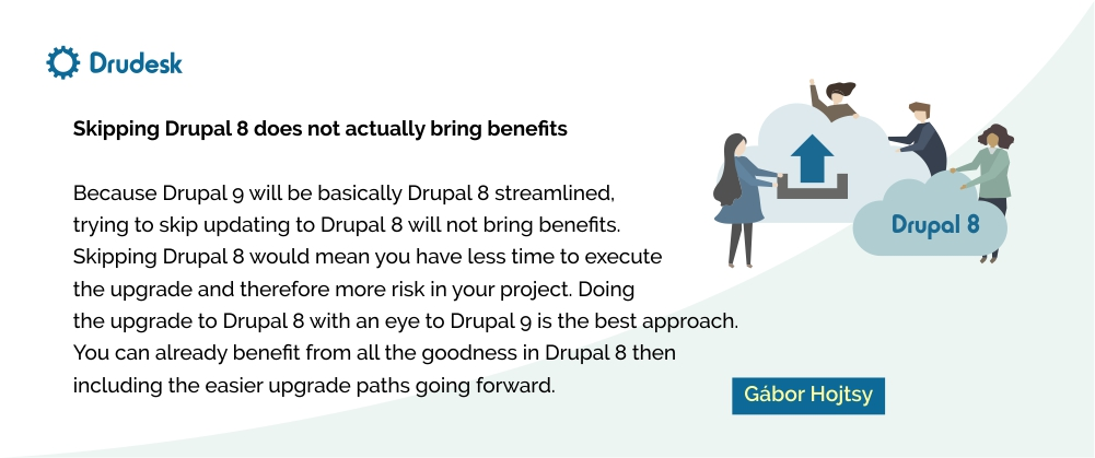 Gabor Hojtsy's quote: skipping Drupal 8 does not bring benefits