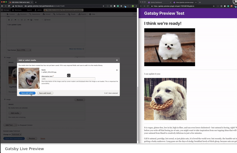 Gatsby Live Preview module in Drupal 8