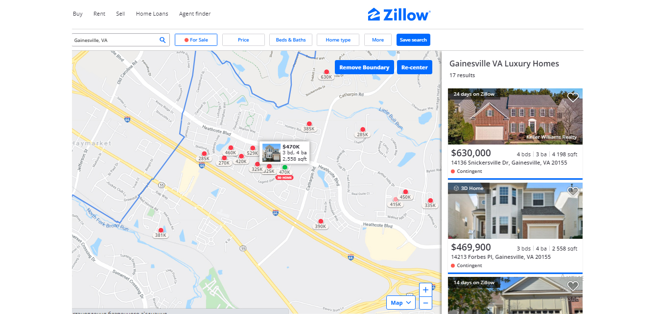 Map integration zillow