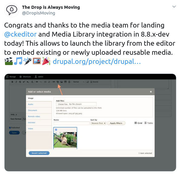 Media Library in Drupal 8: WYSIWIG integration complete