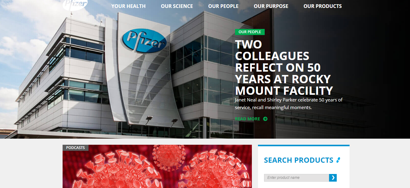 Pfizer site on Drupal