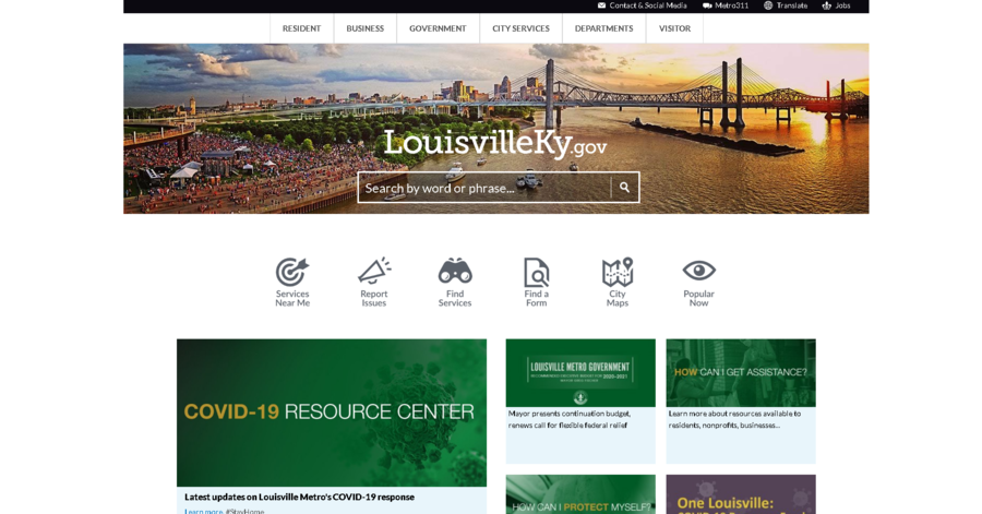 Search feature on the municipal website of Louisville