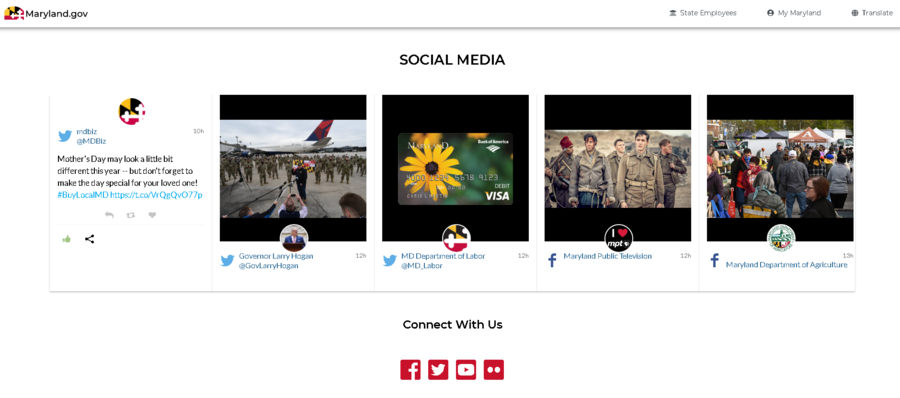Social media integration on the municipal website of the State of Maryland