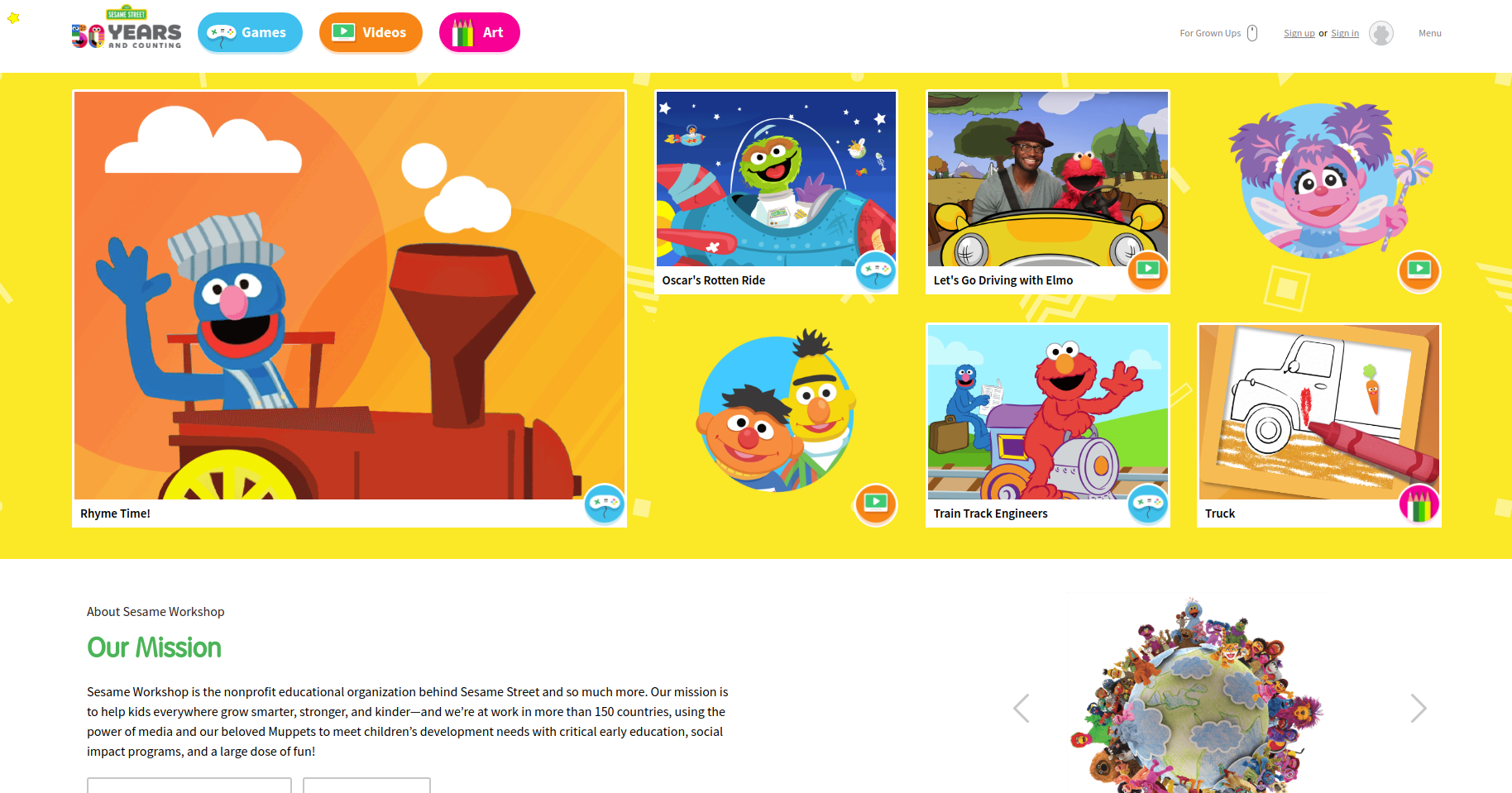UX for kids - Sesame Street website