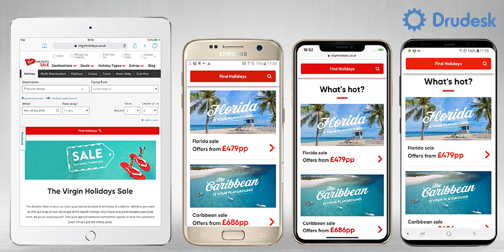 Virgin Holidays responsive travel website design