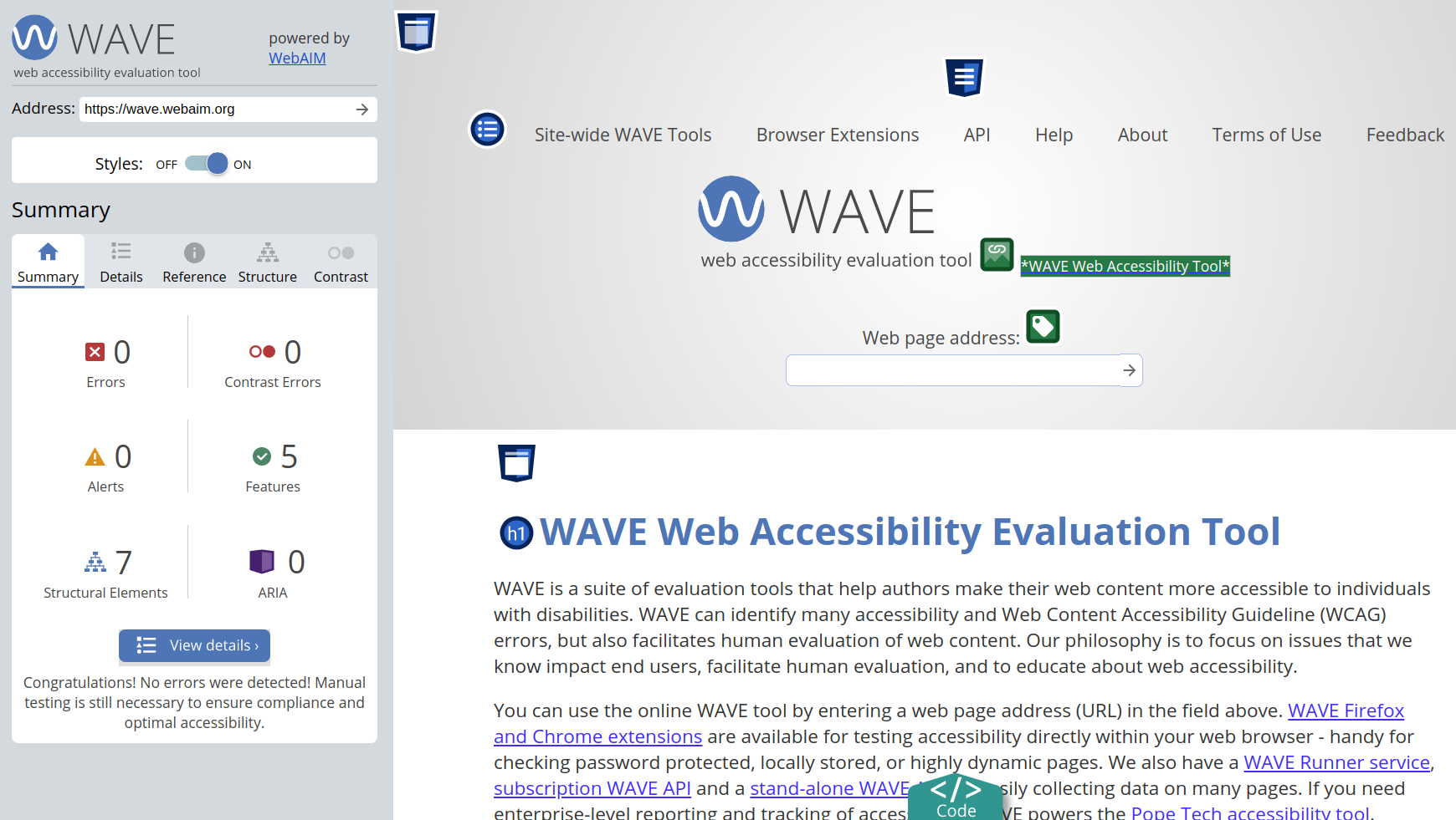 WAVE accessibility testing tool